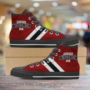 Designs by MyUtopia Shout Out:Diehard Wisconsin Fan Canvas High Top Shoes,Men's / Mens US 5 (EU38) / Red,High Top Sneakers