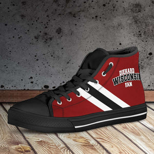Designs by MyUtopia Shout Out:Diehard Wisconsin Fan Canvas High Top Shoes