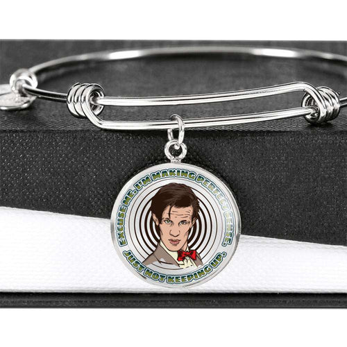Designs by MyUtopia Shout Out:Doctor Who Quote I'm Making Perfect Sense Personalized Engravable Keepsake Bangle Bracelet,Luxury Bangle (Silver) / No,Bracelets