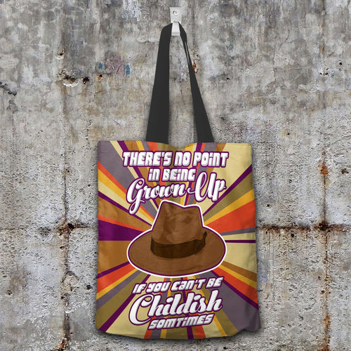 Designs by MyUtopia Shout Out:Doctor Who Quote No Point Being A Grown Up If You Can't Be Childish Fabric Totebag Reusable Shopping Tote