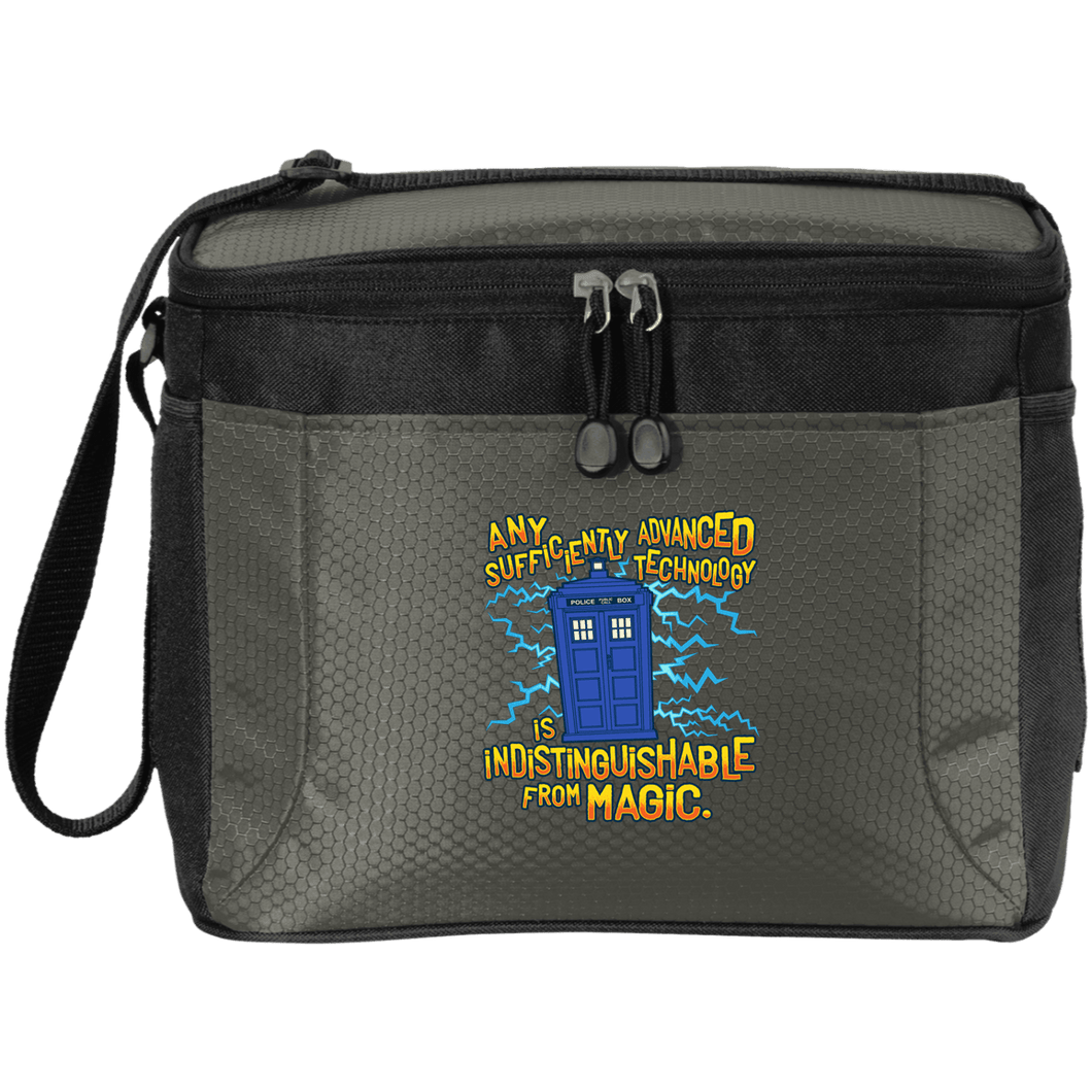 Designs by MyUtopia Shout Out:Doctor Who Quote, Technology is Indistinguishable from Magic 12-Pack Cooler,Grey/Black / One Size,Bags