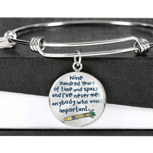Designs by MyUtopia Shout Out:Doctor Who TARDIS 900 Years of Time and Space Personalized Engravable Keepsake Bangle Bracelet,Silver / No,Bracelets
