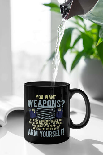 Designs by MyUtopia Shout Out:Doctor Who TARDIS Books Are The Best Weapon Ceramic Coffee Mug - Black,11 oz / Black,Ceramic Coffee Mug