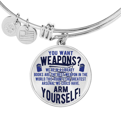 Designs by MyUtopia Shout Out:Doctor Who TARDIS Books Are The Best Weapon Personalized Engravable Keepsake Bangle Bracelet
