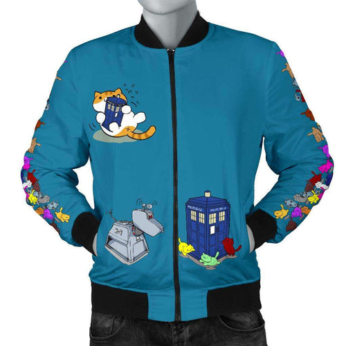 Designs by MyUtopia Shout Out:Doctor Who Tardis Nekos and Droids Men Bomber Jacket