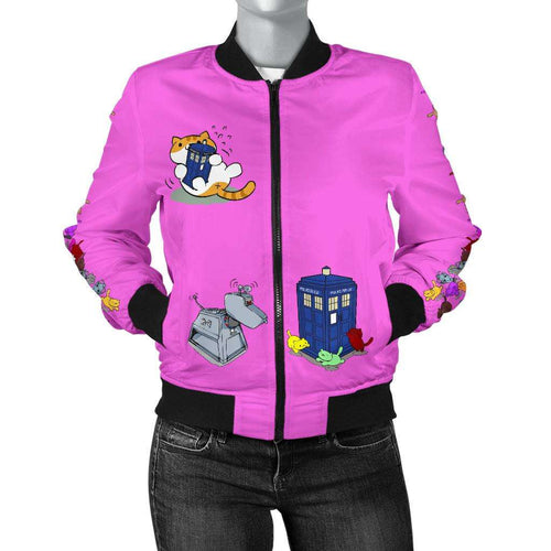 Designs by MyUtopia Shout Out:Doctor Who Tardis Nekos and Droids Women's Bomber Jacket