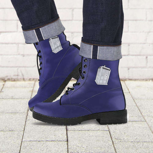 Designs by MyUtopia Shout Out:Doctor Who's TARDIS inspired Faux Leather 7 Eye Lace-up Boots