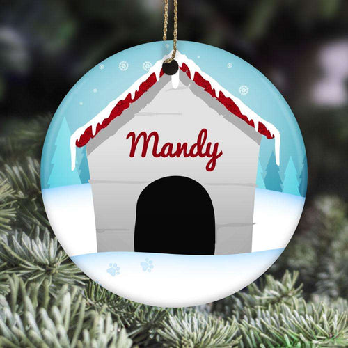 Designs by MyUtopia Shout Out:Dog House Christmas Personalized with Pets Name Ceramic Circle Ornament