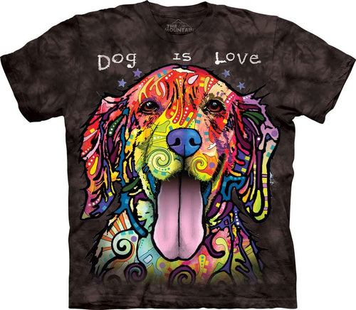 Designs by MyUtopia Shout Out:Dog is Love Dean Russo Art Printed by The Mountain Tee Shirt,Short Sleeve / Small / Black,Adult Unisex T-Shirt