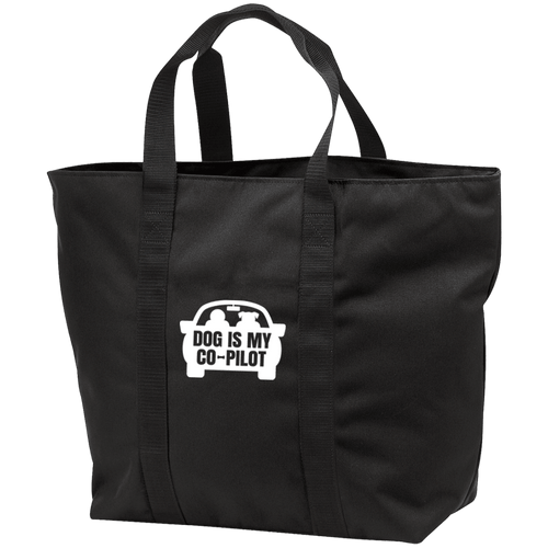 Designs by MyUtopia Shout Out:Dog is My Co-Pilot Embroidered All Purpose Tote Bag w Zipper Closure and side pocket,Black/Black / One Size,Totebag