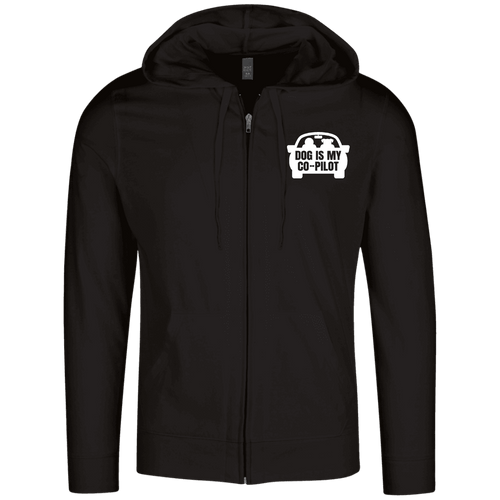 Designs by MyUtopia Shout Out:Dog is My Co-Pilot Embroidered Lightweight Full Zip Hoodie,Black / X-Small,Sweatshirts