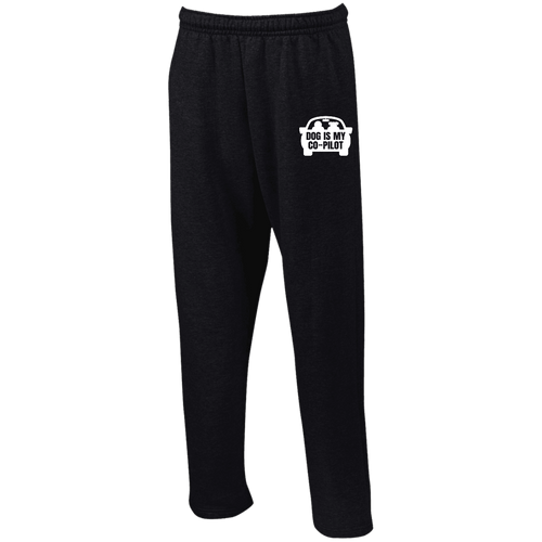Designs by MyUtopia Shout Out:Dog is My Co-Pilot Embroidered Open Bottom Sweatpants with Pockets,Black / S,Pants