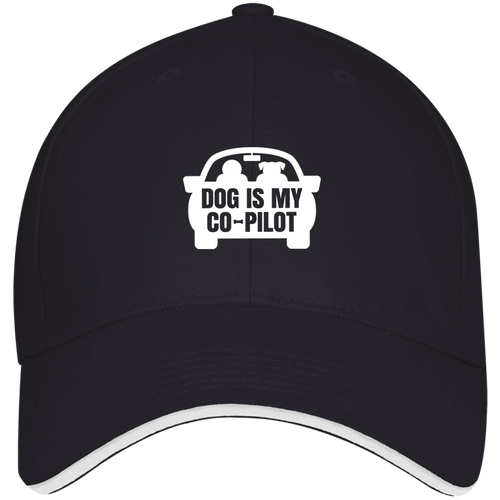 Designs by MyUtopia Shout Out:Dog is My Co-Pilot Embroidered Structured Twill Baseball Cap With Sandwich Visor,Navy/White / One Size,Hats
