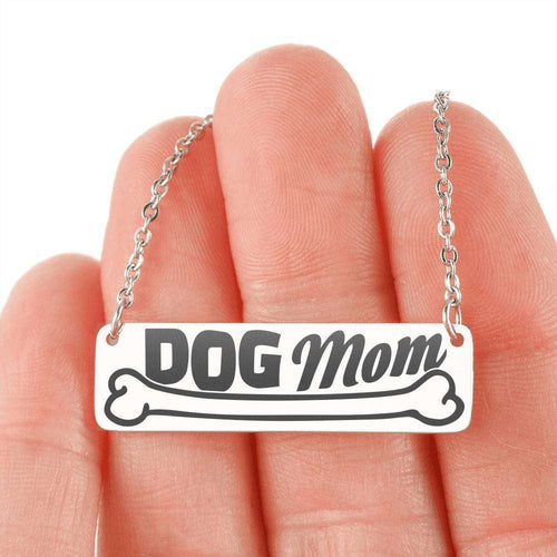 Designs by MyUtopia Shout Out:Dog Mom Engraved Personalized Horizontal Bar Necklace,316L Stainless Steel / No,Necklace