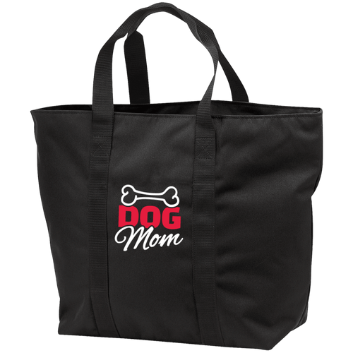 Designs by MyUtopia Shout Out:Dog Mom with Bone Embroidered Port & Co. All Purpose Tote Bag w Zipper Closure and side pocket,Black/Black / One Size,Totebag