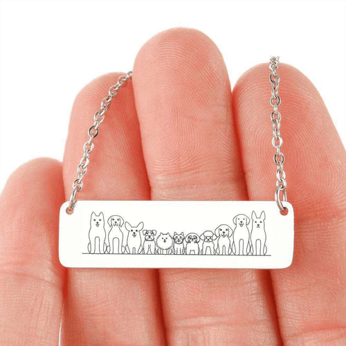 Designs by MyUtopia Shout Out:Dogs All Lined up Engraved Stainless Steel Horizontal Bar Necklace