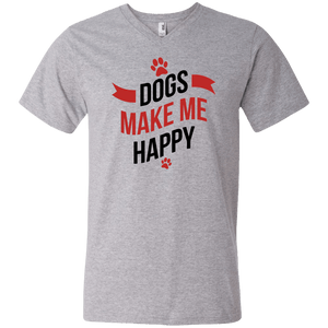 Designs by MyUtopia Shout Out:Dogs Make Me Happy Mens/Ladies V-Neck T-Shirt,Men's V-Neck T-Shirt / S / Heather Grey,Adult Unisex T-Shirt