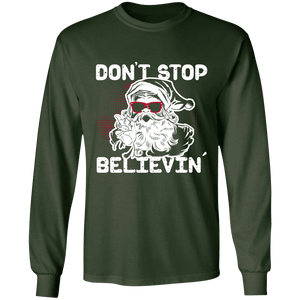 Designs by MyUtopia Shout Out:Don't Stop Believin - Ultra Cotton Long Sleeve T-Shirt,Forest Green / S,Long Sleeve T-Shirts