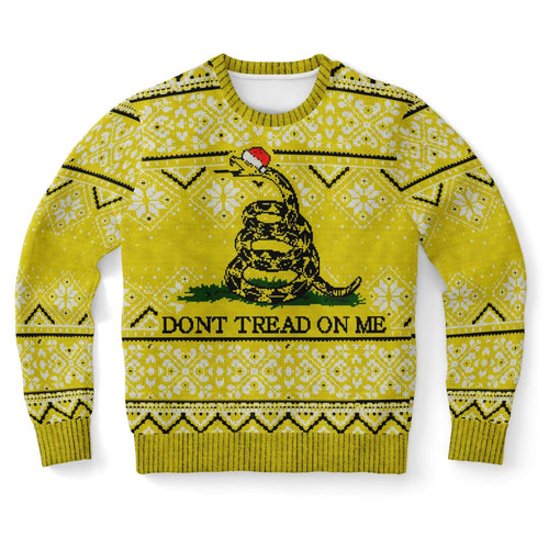 Designs by MyUtopia Shout Out:Don't Tread on Me Ugly Christmas Style 3D Printed Sweatshirt,XS,Fashion Sweatshirt - AOP