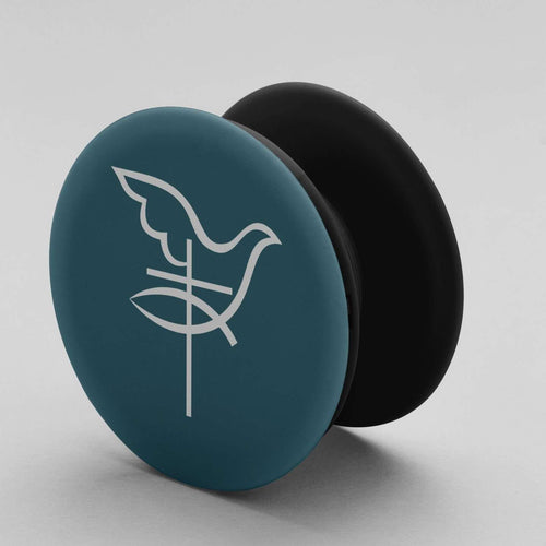 Designs by MyUtopia Shout Out:Dove Cross Fish Pop-out Phone Grip for Smartphones and Tablets