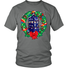 Load image into Gallery viewer, Designs by MyUtopia Shout Out:Dr Who Christmas Wreath,District Unisex Shirt / Grey / S,Adult Unisex T-Shirt