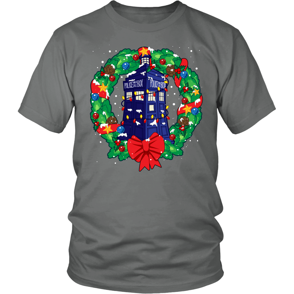 Designs by MyUtopia Shout Out:Dr Who Christmas Wreath,District Unisex Shirt / Grey / S,Adult Unisex T-Shirt