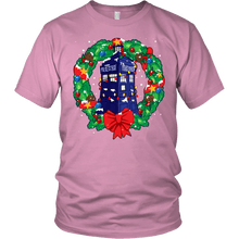 Load image into Gallery viewer, Designs by MyUtopia Shout Out:Dr Who Christmas Wreath,District Unisex Shirt / Pink / S,Adult Unisex T-Shirt