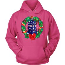 Load image into Gallery viewer, Designs by MyUtopia Shout Out:Dr Who Christmas Wreath,Unisex Hoodie / Sangria Pink / S,Adult Unisex T-Shirt