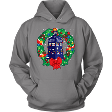 Load image into Gallery viewer, Designs by MyUtopia Shout Out:Dr Who Christmas Wreath,Unisex Hoodie / Grey / S,Adult Unisex T-Shirt
