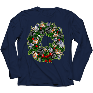 Designs by MyUtopia Shout Out:Droid Wreath Unisex Shirts,Long Sleeve / Navy / 4XL,Unisex Shirt