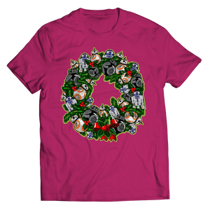 Designs by MyUtopia Shout Out:Droid Wreath Unisex Shirts,Unisex Shirt / Pink / 5XL,Unisex Shirt