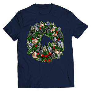Designs by MyUtopia Shout Out:Droid Wreath Unisex Shirts,Unisex Shirt / Navy / 5XL,Unisex Shirt