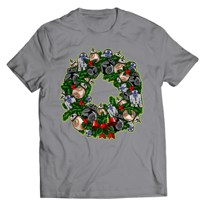 Designs by MyUtopia Shout Out:Droid Wreath Unisex Shirts,Unisex Shirt / Athletic Heather / 5XL,Unisex Shirt
