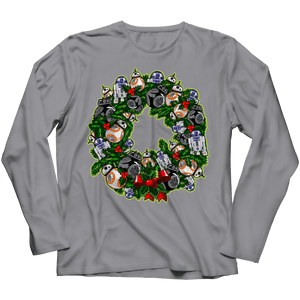 Designs by MyUtopia Shout Out:Droid Wreath Unisex Shirts,Long Sleeve / Athletic Heather / 4XL,Unisex Shirt
