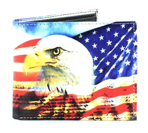 Designs by MyUtopia Shout Out:Eagle and USA Flag Patriotic Mens Bifold Wallet with Flip Up ID Window Faux Leather