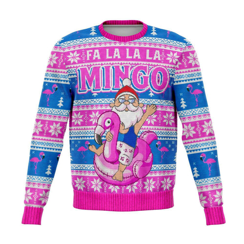 Designs by MyUtopia Shout Out:Fa La La La Mingo - Funny Christmas Fleece Lined Fashion Sweatshirt,XS / Multi,Fashion Sweatshirt - AOP
