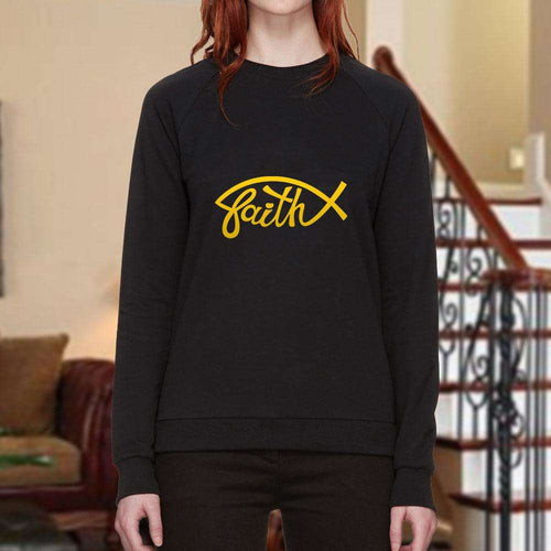 Designs by MyUtopia Shout Out:Faith Fish Christian Faith Crewneck Sweatshirt