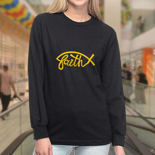 Designs by MyUtopia Shout Out:Faith Fish Christian Long Sleeve T-Shirt