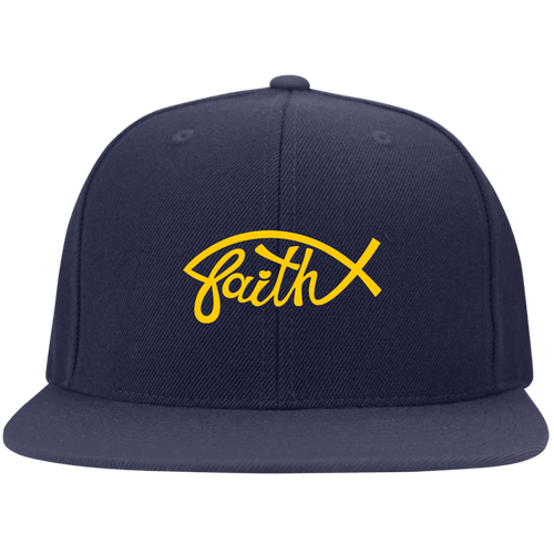 Designs by MyUtopia Shout Out:Faith Fish Embroidered Flat Bill Twill Flex-fit Cap - Navy Blue,Navy / S/M,Hats