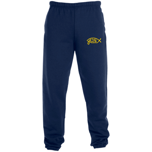Designs by MyUtopia Shout Out:Faith Fish Embroidered Jerzees Unisex Sweatpants with Pockets - Navy Blue,True Navy / S,Pants