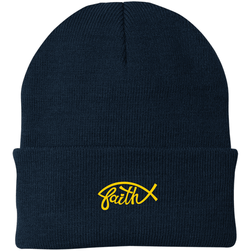 Designs by MyUtopia Shout Out:Faith Fish Embroidered Port Authority Knit Beanie Cap - Navy Blue,Navy / One Size,Hats