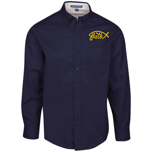 Designs by MyUtopia Shout Out:Faith Fish Embroidered Port Authority Men's Long Sleeve Dress Shirt - Navy Blue,Navy/Light Stone / X-Small,Dress Shirts