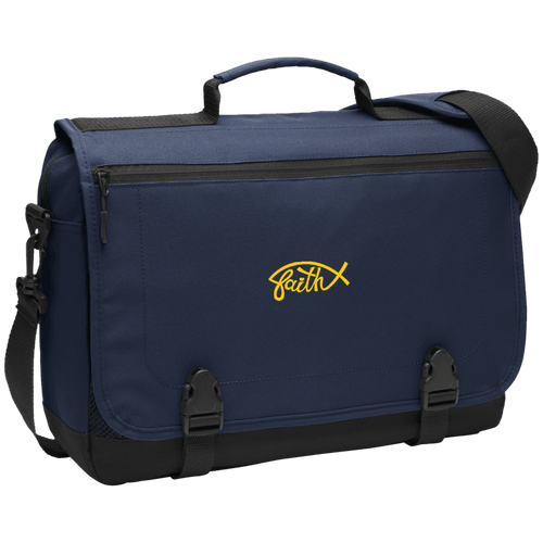 Designs by MyUtopia Shout Out:Faith Fish Embroidered Port Authority Messenger Briefcase - Navy Blue,Navy / One Size,Bags