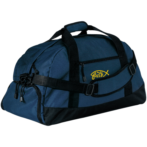 Designs by MyUtopia Shout Out:Faith Fish Embroidered Port & Co. Basic Large-Sized Duffel Bag Gym Bag - Navy Blue,Navy / One Size,Duffel Bag