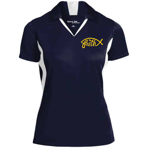 Designs by MyUtopia Shout Out:Faith Fish Embroidered Sport-Tek Ladies' Colorblock Performance Polo - Navy Blue,True Navy/White / X-Small,Polo Shirts