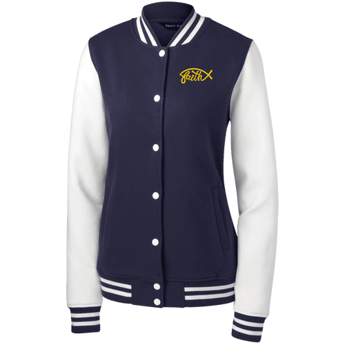 Designs by MyUtopia Shout Out:Faith Fish Embroidered Sport-Tek Women's Fleece Letterman Jacket - Navy Blue,True Navy/White / X-Small,Sweatshirts