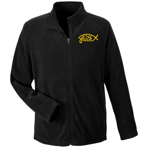 Designs by MyUtopia Shout Out:Faith Fish Embroidered Team 365 Microfleece Unisex Jacket - Black,Black / X-Small,Jackets