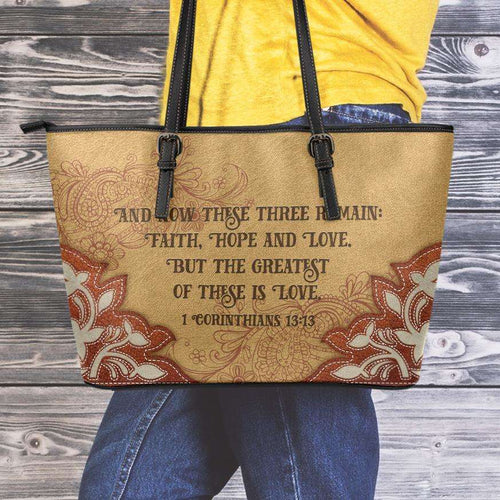 Designs by MyUtopia Shout Out:Faith Hope Love 1 Corinthians 13:13 Bible Verse Country Western Faux Leather Totebag Purse