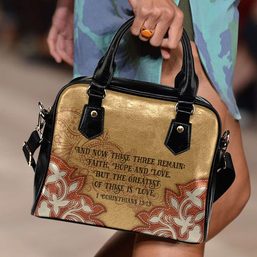 Designs by MyUtopia Shout Out:Faith Hope Love 1 Corinthians 13:13 Bible Verse Country Western Handbag