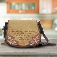 Load image into Gallery viewer, Designs by MyUtopia Shout Out:Faith Hope Love Bible Verse 1 Corinthians 13:13 Country Western Crossbody Purse,Tan,Cross-Body Purse